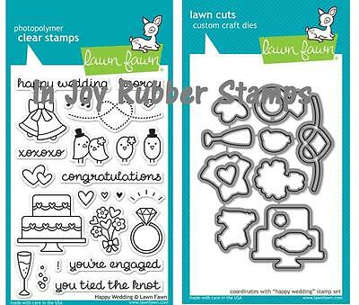 Lawn Fawn HAPPY WEDDING Clear Stamp Set and Lawn Cuts Dies Love Birds Ring Cake