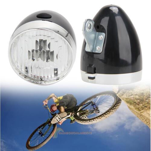Retro Bicycle Bike 3 LED Front Light Headlight Vintage Flashlight Lamp Bracket