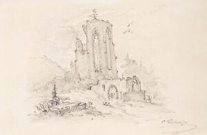 Albert E. Kirchner (1813 - 1885) - Ruine -  Bleistiftzeichnung - Signiert