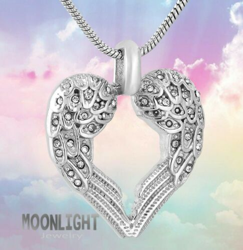 New Angel Wings Heart Crystal Cremation Urn Ashes Silver Memorial Necklace