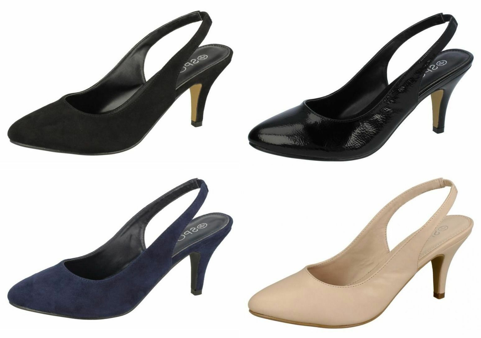Ladies F9987 Sling Back Court Shoes By Spot On £9.99