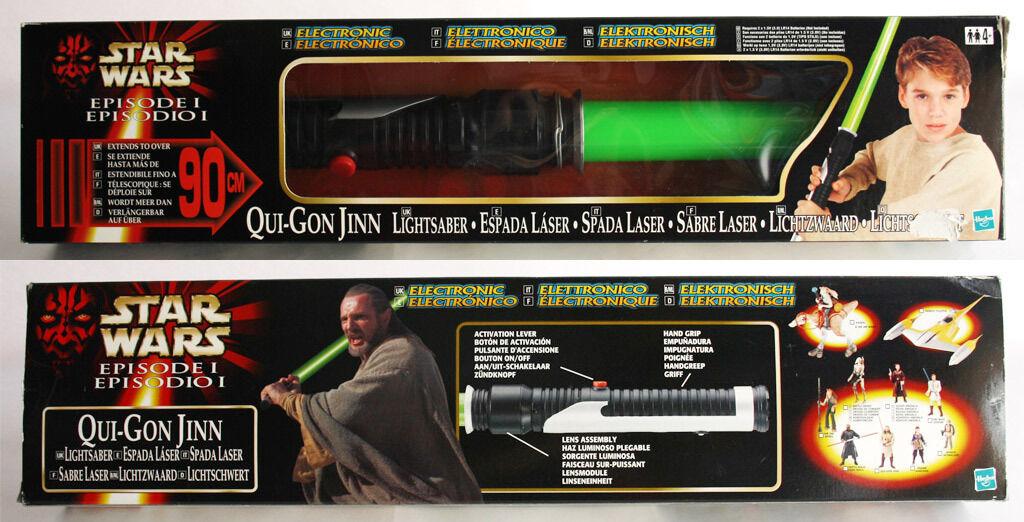 Star wars episode i qui - gon jinn elektronische lichtschwert hasbro 1999 neue mib