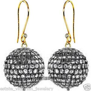 Vintage-3-44cts-Rose-cut-Diamond-Sterling-Silver-Bead-Ball-Hook-Earring-Jewelry