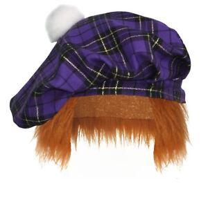 Purple-amp-Gold-Tartan-Tam-039-O-039-Shanter-With-Hair-Scottish-Highland-Fancy-Dress