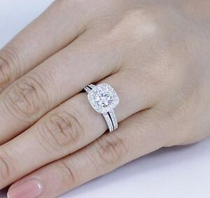 image is loading 925 sterling silver cz halo wedding band engagement - Halo Wedding Ring Set