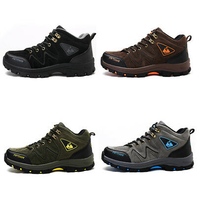 Warm Mens Leather Walking High Top Hiking Waterproof Trainers Boots Shoes Sizes   eBay
