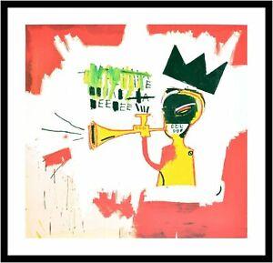 Jean-Michel-Basquiat-Trumpet-Poster-Kunstdruck-mit-Alu-Rahmen-in-schwarz-70x70cm