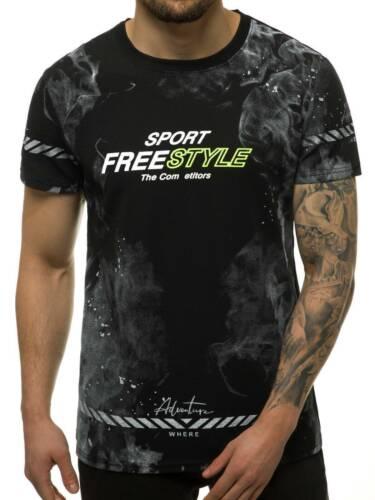 T-Shirt Kurzarm U-Neck Shirt Slim Fit Mit Aufdruck OZONEE JS//KS2014 Herren