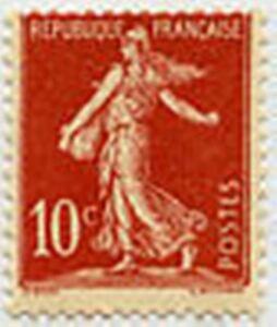 Francia-Stamp-Sello-N-134-034-Sembradora-Fondo-Liso-con-Suelo-10C-Rojo-034-Nuevo-X