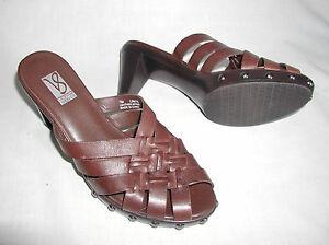 Victoria-Spenser-Limits-Womens-7M-Leather-Heels-Sandals-Slides-Woven-Studs-Brown