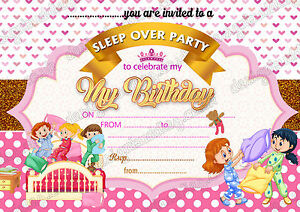 Details About Girls Birthday Party Invitations SLEEPOVERSLUMBER PAJAMA PARTY X 8 Cards