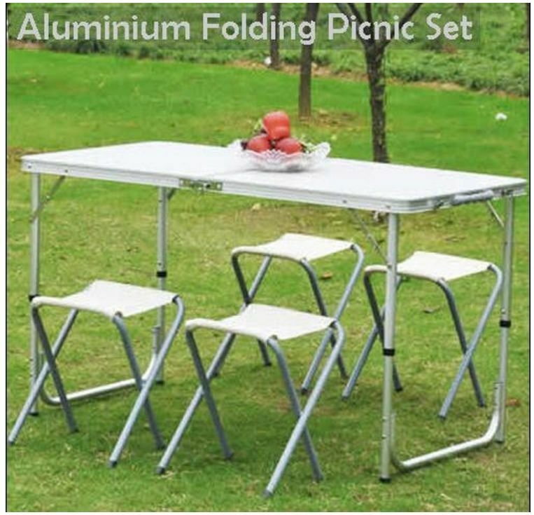 Fantastic Portable Folding Picnic Camping Set Bbq Party Aluminium Table 4 Foldable Chairs Randburg Gumtree Classifieds South Africa 162295631 Download Free Architecture Designs Scobabritishbridgeorg