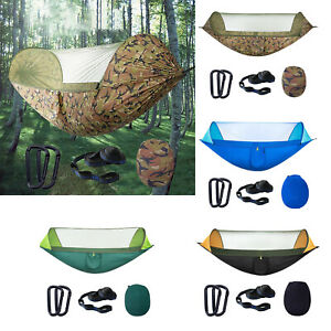 Camping Hammock with Net Polyester Breathable Hiking Hanging Sleeping Bed