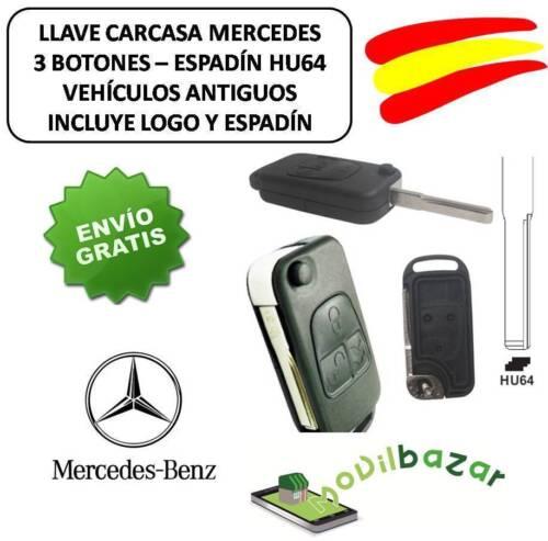 LLAVE CARCASA MANDO MERCEDES BENZ 3 BOTONES HU64 CLASE A E C S G ESPADIN Y LOGO