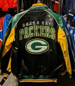 Officially-Licensed-NFL-Men-039-s-Greenbay-Packers-Faux-Leather-Jacket
