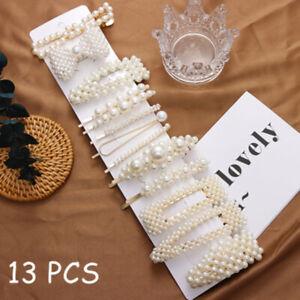 13Pcs-Fashion-Pearls-Clips-Headwear-Girls-Sweet-Hairpins-Barrettes-Hair-grips
