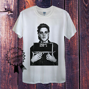 6477db52299 Elvis Presley T-Shirt King of Rock and Roll White Grey Sex UK Mens ...