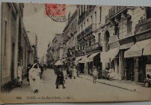 Tunisi-Cartolina-la-Rue-Italia-Tunisia-Bon-Stato-1921