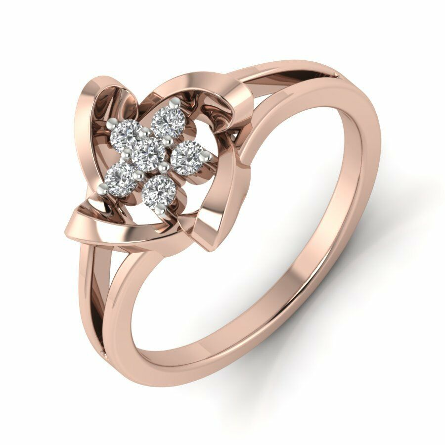 Round Cut Natural Diamond Intricately Crafted Fine Ring 14kt pink gold Ring