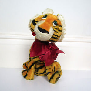 Vtg 50s Tiger Stuffed Animal Wool Wild Cat Circus Fair Carnival