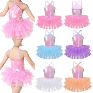 ef9ba37a5ca5 Girls  Ballet Dress Dance Leotard Sequins Tutu Layered Ballerina ...