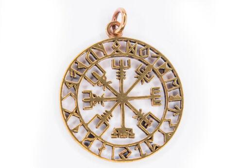 Vegvisir Asatru Wikinger Runen Kompass Anhänger Bronze Gothic Schmuck NEU