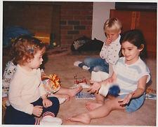 Vintage 80s PHOTO Children Little Boy & Girls w/ Toy In Motion