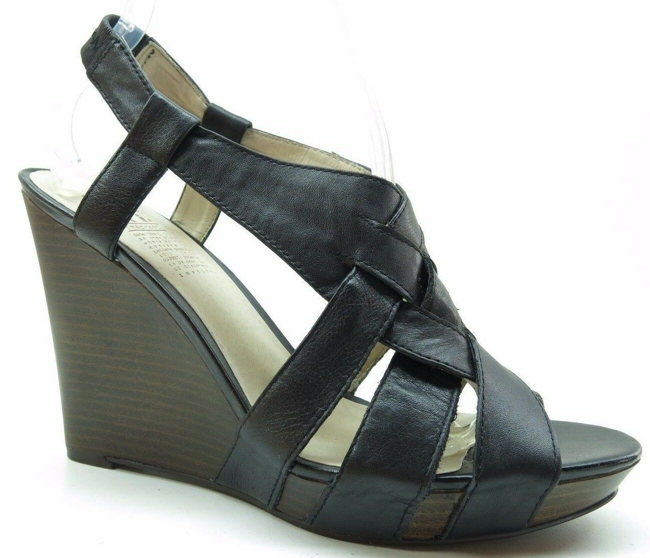MRKT Clay Black Leather Slingback Open Toe Platform Wedge $99 Sandals Heels 9M 9 $99 Wedge 5cbaac