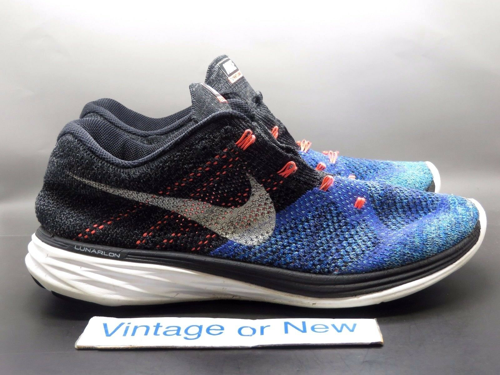 Men's Nike Flyknit Lunar 3 Black Persian Violet Hot Lava 698181-005 sz 11
