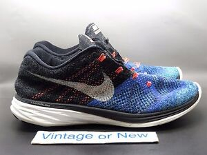 54b94efa2afd Men s Nike Flyknit Lunar 3 Black Persian Violet Hot Lava 698181-005 ...