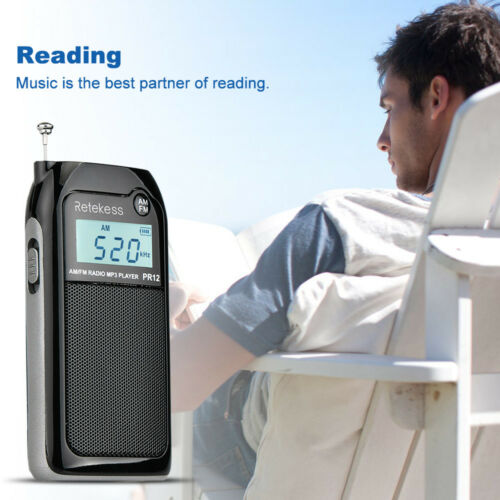 Retekess FM//AM Digital Radio MP3 Player+Rechargeable Battery LCD Display Screen