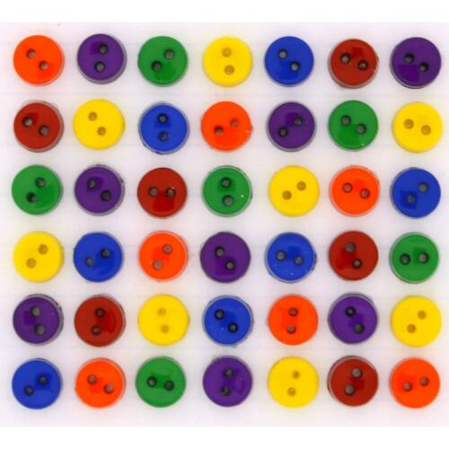 Flat Back 5mm Bright Micro Buttons Dress it Up Tiny Round Primary Buttons