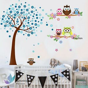 Details About Blue Cherry Tree Flower Cute Owls Nursery Baby Boy Removable Wall Sticker
