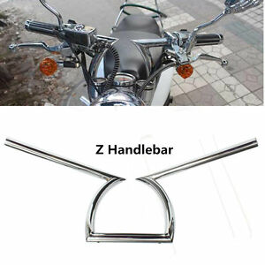 1-034-25mm-Universel-Moto-Guidon-Z-Style-Chrome-Drag-Bar-Pr-Honda-Harley-Yamaha-ATV