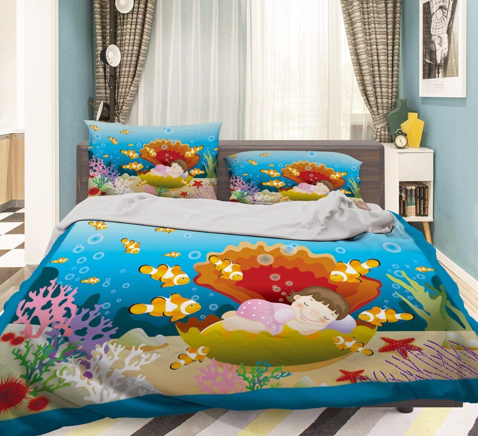 3D Muschelschalen 907 Bett Kissenbezüge steppen Duvet Decken Set Single DE Kyra