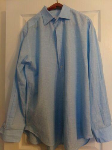 Etro 44 Baby Blue Cotton Tone on Tone Plaid Button