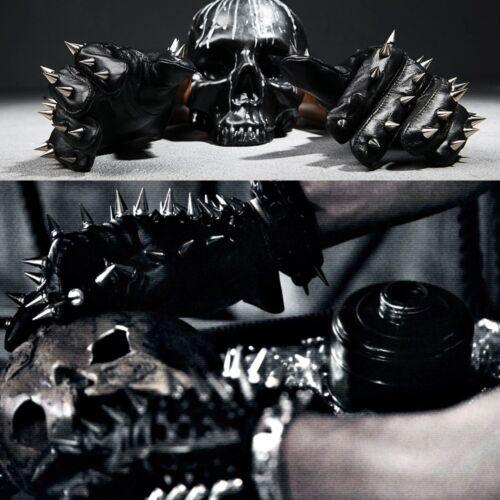 ByTheR Black Men/'s Metal Stud Custom Rider Biker Leather Gloves Korea Fashion