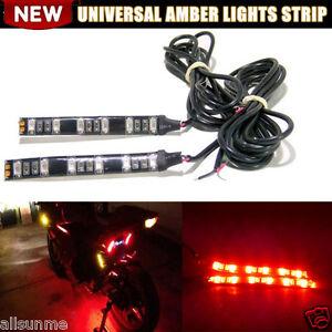 6LED Universal Mini Strip Black led motorcycle Turn signal Amber lights Strip