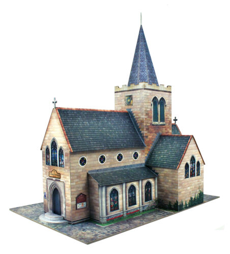 O gauge (7mm) 1:48 scale Model Railroad Trains CHURCH Kit CityBuilder