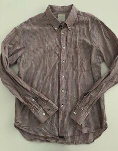 BILLY-REID-Mens-Red-Dark-Grey-Striped-Standard-Cut-Button-Down-Shirt-Size-XL