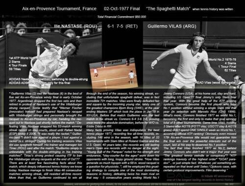 Numbered *NASTASE vs Vilas* retro A3 poster 1977 Spaghetti match 40y tribute