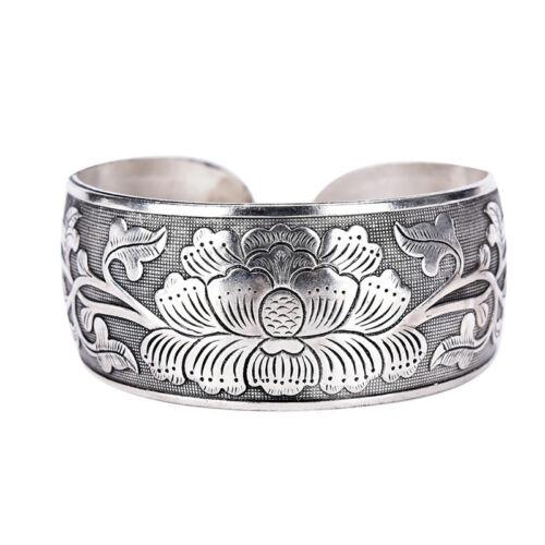 Beautiful New Tibetan Tibet Silver Totem Bangle Cuff Peony Bracelet Jewelry 0UJM