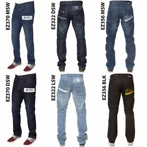 New-ENZO-Mens-Blue-Black-Regular-Straight-Fit-Denim-Jeans-Pants-All-Waist-Sizes