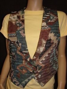 Rough-Rider-Circle-T-Ladies-Size-M-34-36-034-Aztec-Print-Tapestry-Western-Vest