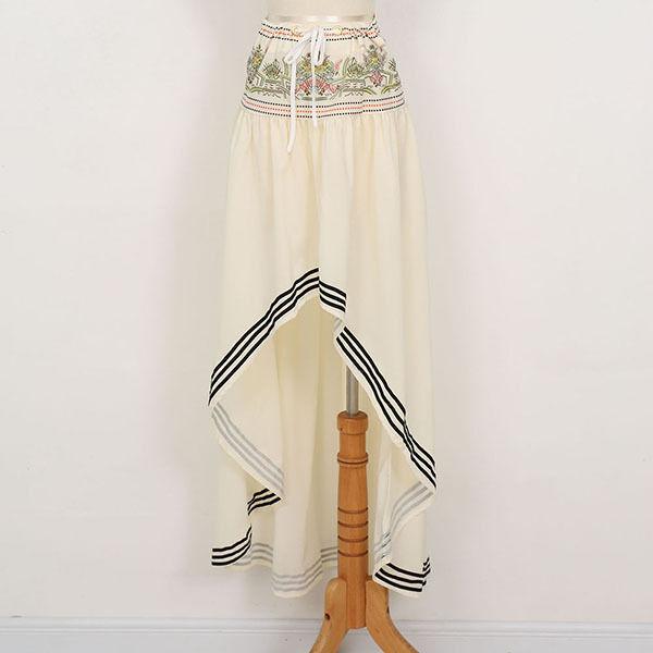 Women's Gypsy Boho Pleated Tiered Asymmetric Long Skirt Crochet Maxi Beach Skirt