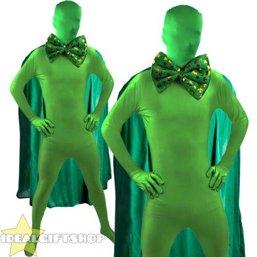 SUPER ST PATRICK/'S DAY MAN GREEN FANCY DRESS SUPERHERO COSTUME PADDYS SKIN SUIT