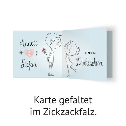 Küssendes Paar Hochzeit Dankeskarten Danksagungskarten individuell