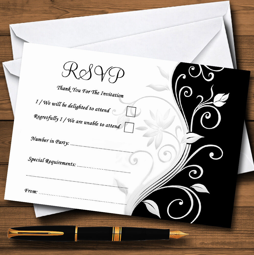 Noir Blanc Parchemin Mariage Personnalisé ou ou Personnalisé cartes partie RSVP 9015ba