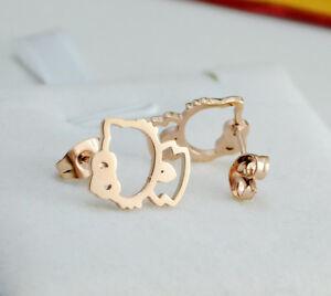 18K-Rose-Gold-GF-Lady-Girl-039-s-Japanese-Lucky-Cat-Cute-Hello-Kitty-Stud-Earrings