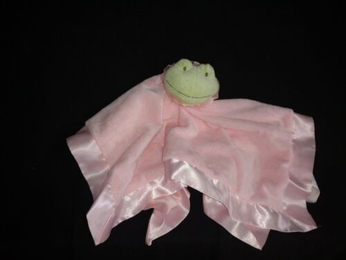 Hallmark Lila Green Frog Pink Security Blanket Velour Satin Baby Girl Lovey